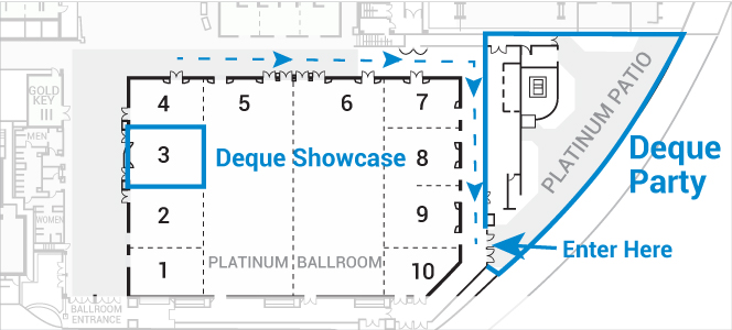 map of where the deque party is on the platinum patio, it is across from platinum ballroom 9