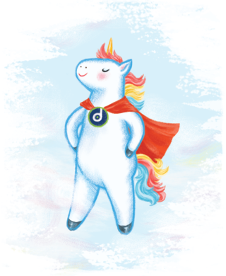 A11y the Accessibility Unicorn floating proudly in the sky.