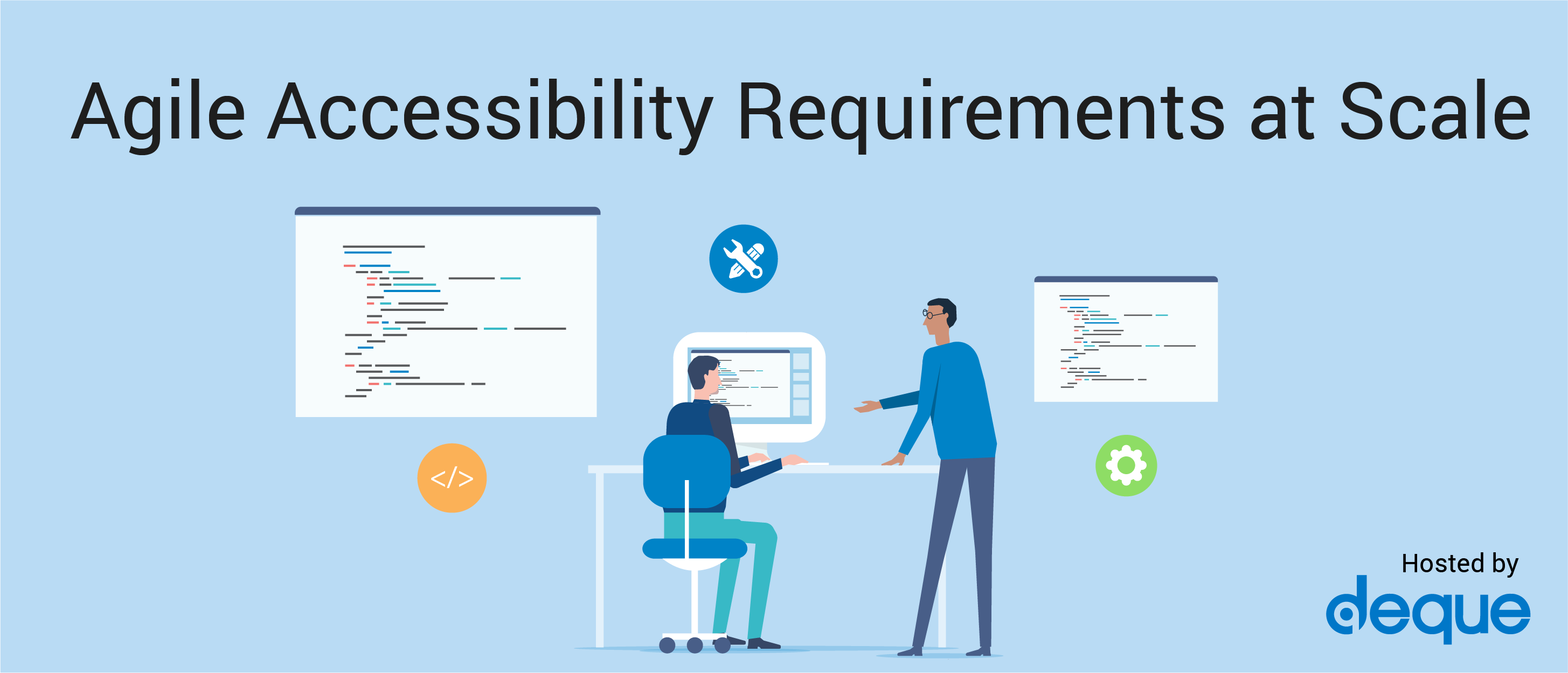 Illustration of two people working at a computer, coding. The words Agile Accessibility Requirements at Scale are featured.